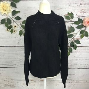 GAP Black Chunky Knit Thick Crew Neck Sweater